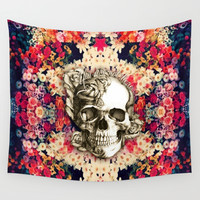 You are not here Day of the Dead Rose Skull. Wall Tapestry by Kristy Patterson Design