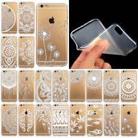 Phone Cases For Iphone 6 6s Luxury Silicon Clear Vintage White Paisley Flower Soft Housing Back Cover