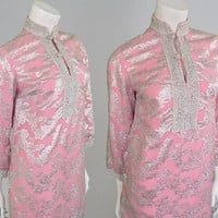 Vintage 60s Mini Dress Pastel Pink and Silver Embroidered Dress Nehru Collar Indian Style 1960s Hippy Dress Baby Pink Dress 60s Shift Dress