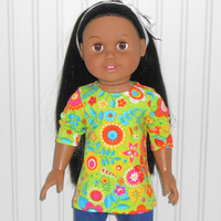 18 inch Girl Doll Clothes Bright Green Tee Shirt Cotton Knit Print Shirt with Flowers
