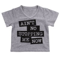 T-shirt Grey Letter Print Boys Clothing Tee Tops Toddler Baby Kids Boy Clothes Tops Short Sleeve 1-6Y