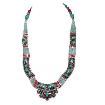 Coral Turquoise Handmade Tibet Necklace