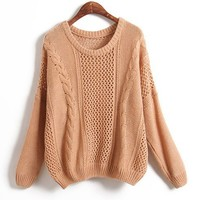 Khaki Cable Knit Jumper with Cut Out Design in Loose Fit