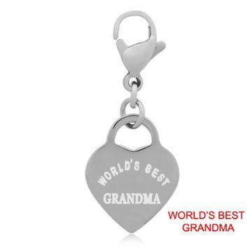 "Wholesale reward to the grandmother.Order of kindness and caring ""worlds best grandma"" charms 14*32mm 2g"
