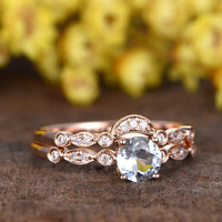 0.5 Carat Round Aquamarine Bridal Set Diamond Wedding Ring 14k Rose Gold Art Deco Curve Matching Band