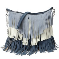 Color Block Fringe Messenger Bag (4 Colors)