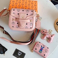 MCM Fashion Women Shopping Leather Shoulder Bag Crossbody Satchel Wallet Three-Piece Pink