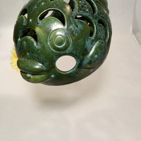 Boho Fish Candle Holder Green Votive Cover Beach Decor Patio Decor Beach Cottage Candle Holder
