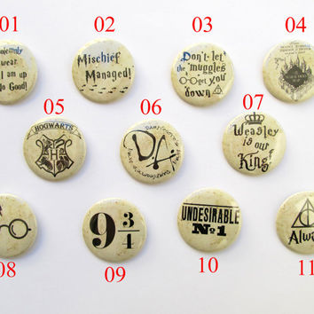 """Pinback Button Badge 50mm/2"""" ;11 to choose from,Mischief Managed,I solemnly swear I am up to no good,Undesirable, Muggles, harry potter pin"""