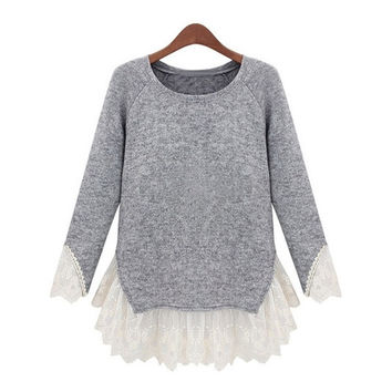 Grey Long Sleeve Contrast Lace Knit Sweater = 1920530500