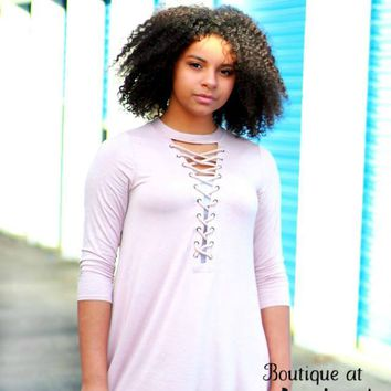 Light Mauve Dress or Tunic with Lace-up Neckline