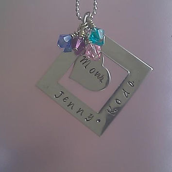 Square Necklace Personailzed with Heart Pendant and Swarovski Charms - daughter, mom, aunt, sister, grandmother