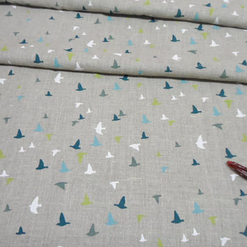Natural linen tablecloth. Scandinavian Tablecloth 56 x 86  White Green Blue Bird Print Table cloth