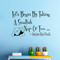 Wall Decals Quote Decal Let's begin by taking  Winnie The Pooh Sayings Sticker Vinyl Decals Wall Decor Murals Z346