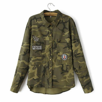 Slim Embroidered Military Women Jacket