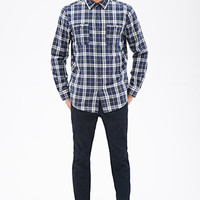 Plaid Flannel Shirt Blue/Cream