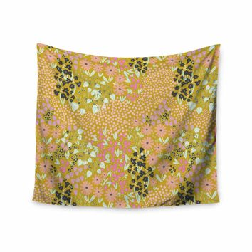 """Akwaflorell """"Colorful Garden2"""" Coral Pastel Illustration Wall Tapestry"""