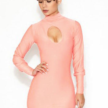 Pink High Neck Cut-Out Mini Dress with Long Sleeves