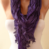 SALE - Purple Scarf with Purple Trim Edge - New