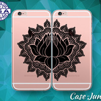 Lotus Flower Black Henna Mandala Pair Case iPhone 5 iPhone 5C iPhone 6 Plus iPhone 6s iPhone 6s Plus and iPhone SE iPhone 7 Plus Clear Case