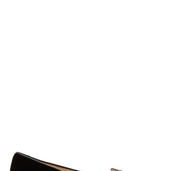 Charlotte Olympia Black And Gold Embroidered Velvet Kitty Flats
