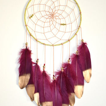 Bohemian Dream Catcher Decor, Maroon Dream catcher, Gold Bedroom Wall Decor, Boho Wall Hanging, Girls Bedroom Decor