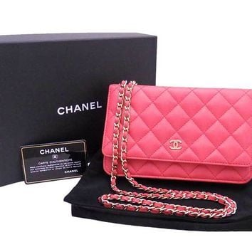 Auth CHANEL Matelasse Wallet on Chain Shoulder Bag Pink/Goldtone *MINT* - e30993