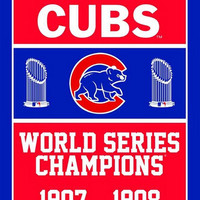 3X5FT MLB Chicago Cubs Flag champion banner  metal Grommets Free Shipping  custom flag 100D Digital Print