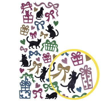 Kitty Cat Presents and Ribbon Silhouette Animal Glittery Decorative Stickers