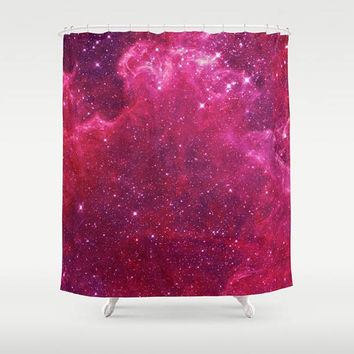 Pink Galaxy Shower Curtain  - Nebula stars, night sky galaxy, solar system, galaxies, bright pink,  bathroom decor, home
