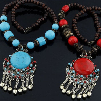 Fashion Women  Bohemian Beads Large Pendant Long Necklace = 1928838852