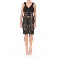 Sue Wong Womens Mesh Pleated Cocktail Dress
