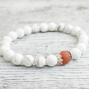 White howlite beaded stretchy bracelet with a crackled dream agate, made to order yoga bracelet, mens bracelet, womens bracelet