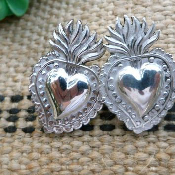 Your Personal Miracle, sterling silver milagro heart earrings passion flaming heart