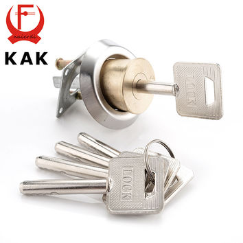Kak Entrance Door Lock Cylinder Brass Copper Core W/ Smart Keys For Home Gate Furniture Hardware