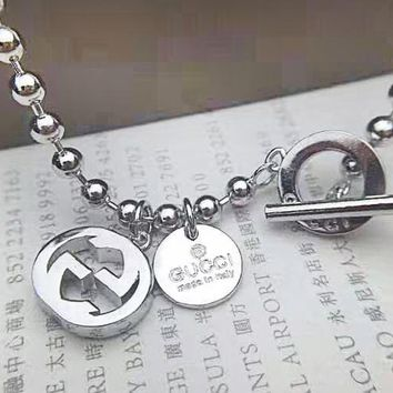GUCCI fashion hot selling women's alphabet accessories silver bracelet