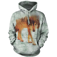 The Mountain Men's  Forest Wolf Hooded Sweatshirt Green