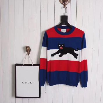 cc kuyou Gucci Sweater Striped Panther