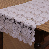 CROCHET TABLE RUNNER- Handmade - 100% Cotton - Crochet Table Decor, Table Runner for Home Decor, Wedding, Birthdays, Bridal & Gifts.