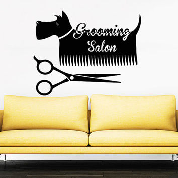 Grooming Salon Wall Decal Pet Shop Vinyl Sticker Decals Dog Comb Scissors Grooming Salon Decor Interior Art Murals Window Decal AN733