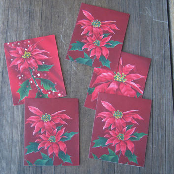 5 Unused 1950s Christmas Cards; Gorgeous Poinsettias - Dayglo-effect Vintage Christmas Cards - Midcentury Modern Christmas Greetings