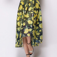 Yellow Floral Belted Asymmetrical A-Line Maxi Skirt