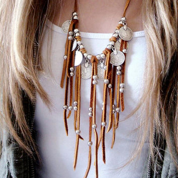 Leather Fringe Necklace Statement Necklace Coin Necklace Coin Charms Jewelry Afghan Kuchi Tribal Boho Native American Navajo Lea