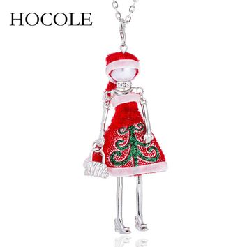 HOCOLE New Cute Red Cloth Dress Doll Necklace Lovely Santa Claus Hat Pendant Necklace Christmas Gifts Jewelry For Women Girls