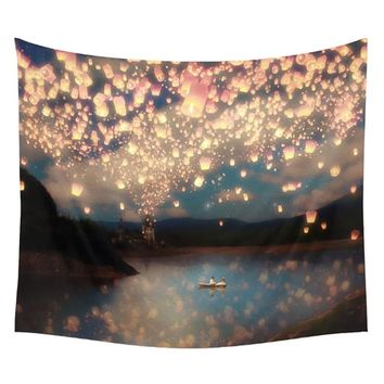 Tangled Light Flying Lantern Scene Wall Hanging Tapestry
