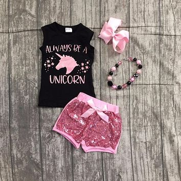baby girls summer clothing girls always to a unicorn top with pink sequin shorts outfits girls unicorn clothes with accessories