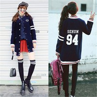 K-pop EXO Hoodie Long Section Sehun Baekhyun Chanyeol Baseball Uniform Jacket Sweatershirt Kpop Clothes Coat EXO-M exo-K Album