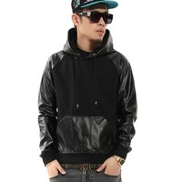 Zero Men's Hipster Hip Hop Faux Leather Rock & Roll Hoodies