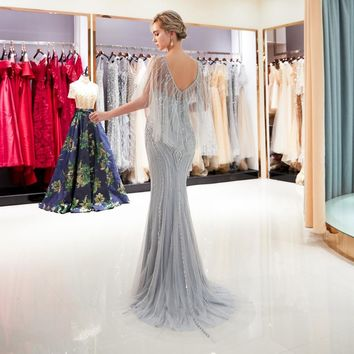 Gray Evening Dresses Beaded Pearl Sequined Prom Gowns Gold Mermaid Short Sleeves Formal Handwork Sheer Neck