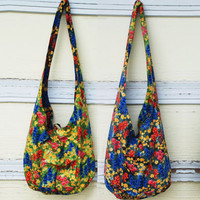 Bright Wildflower Cotton Long Sling Reversible Bag